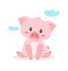 cute pink pig vector image