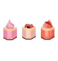 Delicious cakes set for menu invitation vector