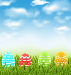 Easter natural landscape with traditional colorful vector image