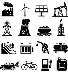 Energy icons black vector image