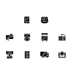 Equipment for show black glyph style icons vector