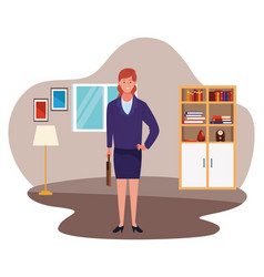 Executive businesswoman with briefcase cartoon vector