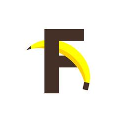 F banana font template design vector