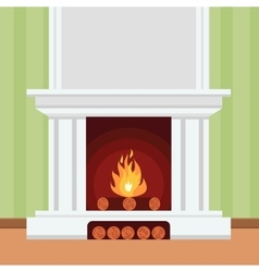Fireplace in flat design style vector image vector image