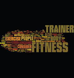 Fitness trainer text background word cloud concept vector