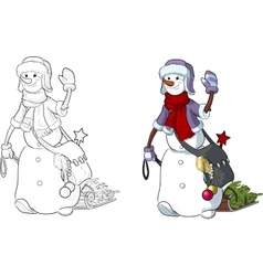 Funny Snowman walking the New Year character vector image