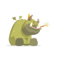 Giant Green Monster In Party Hat Sitting vector image