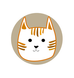 ginger striped cute cartoon style cat in shape of vector image