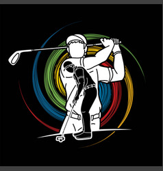 Golf players action cartoon sport graphic vector