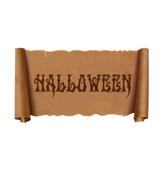 halloween - text on old scroll greeting ribbon vector image