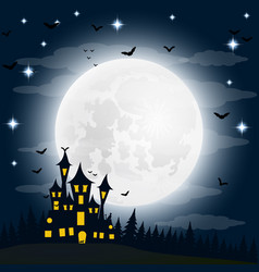 halloween witch s house on full moon vector image