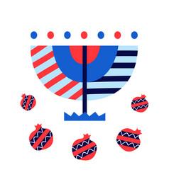 Hanukkah and pomegranates icons vector