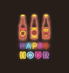 Happy hour with beer bottle fonts neon lights vector