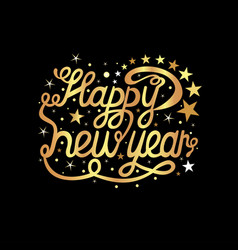 happy new year inscription on a black background vector image
