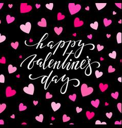happy valentine s day hand drawn brush pen vector image