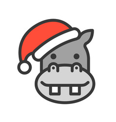 hippopotamus wearing santa hat outline icon vector image