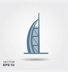 Hotel burj al arab in united arab emirates icon vector