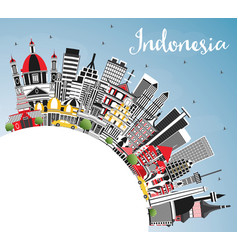 Indonesia cities skyline with gray buildings blue vector