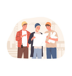 inspector manager and foreman discussing building vector image