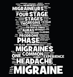 Migraine stages text background word cloud concept vector