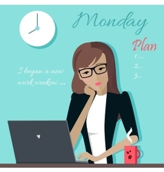 Monday Woman Planning her Work for a Week vector image