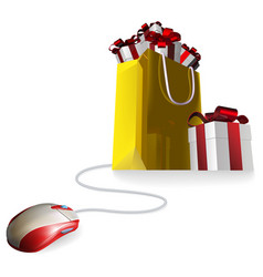 mouse gift shopping bag vector image