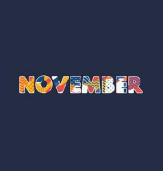 November concept word art vector
