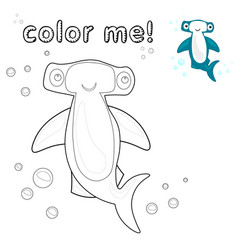 outline hammerhead shark coloring page vector image
