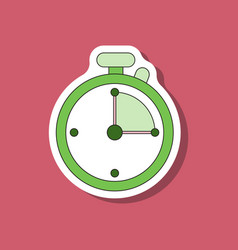 Paper sticker on stylish background stopwatch vector