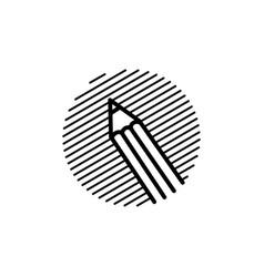 pencil engrave logo icon vector image