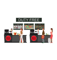 people standing at counter in duty free store vector image