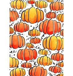 Pumpkin watercolor for halloween vector