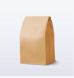 Realistic brown paper bag vector