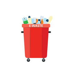 Recycle trash bin for e-waste in flat style vector