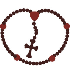 Rosary nacklace cross religion icon vector