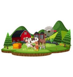 Scene with farm animals in farmland vector