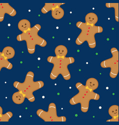 seamless background with gingerbread man vector image
