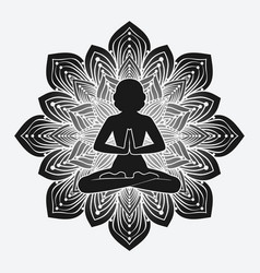 silhouette of girl in yoga pose on flower vector image