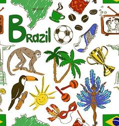 Sketch Brazil seamless pattern vector