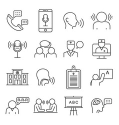 Speech therapist icons set outline style vector