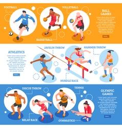 Sportsmen Isometric Horizontal Banners vector image