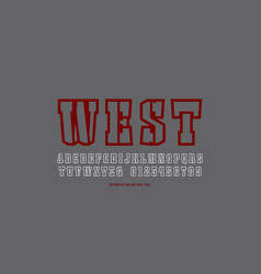 stencil-plate hollow serif font in the western vector image
