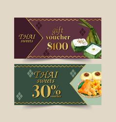 Thai sweet voucher design with pudding golden vector
