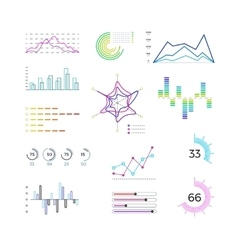 Thin line chart elements for infographic Outline vector image