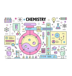 thin line chemistry poster banner template vector image