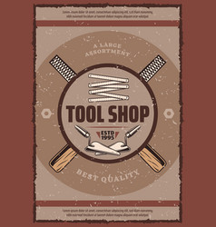 Tool shop retro banner with work equipment vector