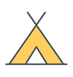 tourist tent line icon simple minimal pictogram vector image