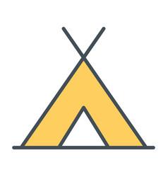 Tourist tent line icon simple minimal pictogram vector