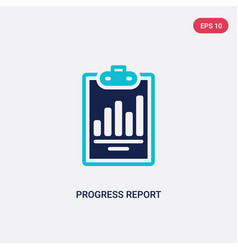 two color progress report icon from business vector image