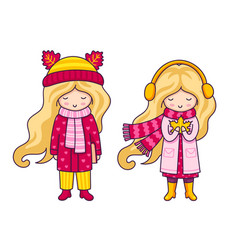 two cute blonde little girls autumn fashion vector image